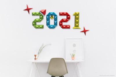 DIY 2021 wall art - 3d papercraft