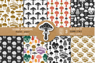 Mushrooms. Botanical, natural, floral seamless patterns.