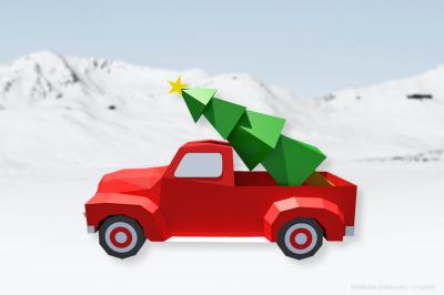 DIY Christmas Truck - 3d papercraft