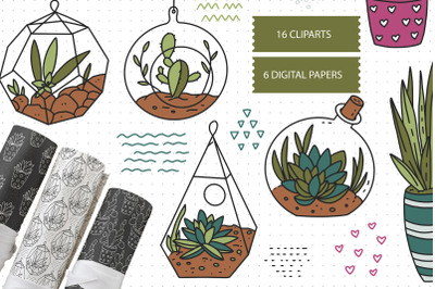 Cactus SVG and Seamless Pattern
