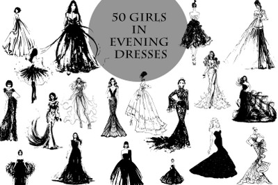 50 beautiful girls in evening dresses vector