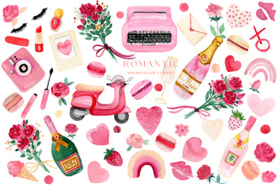 Valentines Day Clip Art. Romantic Pink