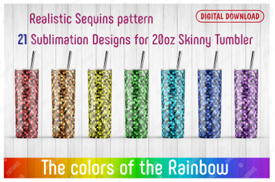 21 Realistic Sequins Patterns for 20oz SKINNY TUMBLER.