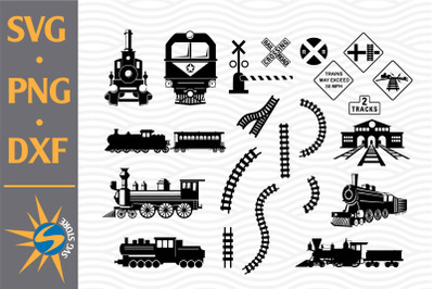 Train Silhouette SVG, PNG, DXF Digital Files Include