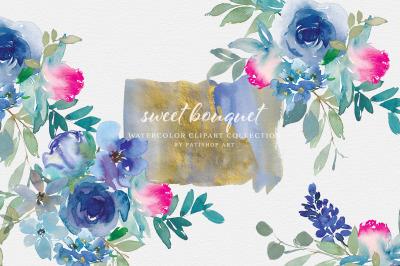 Blue Pink Watercolor Floral Clipart Set