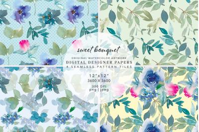 Watercolor Floral Digital Paper Scrapbook Papers Seamless Patterns