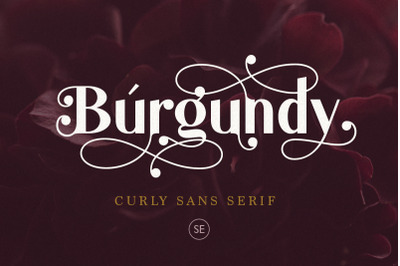 Burgundy - Curly Sans Serif