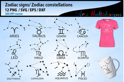 zodiac constellations signs svg