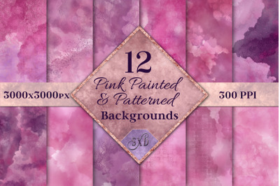 Pink Painted and Patterned Backgrounds - 12 Image Textures