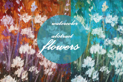 watercolor nature and landscape. abstract flowers