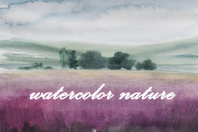 watercolor nature and landscape lavender field and trees
