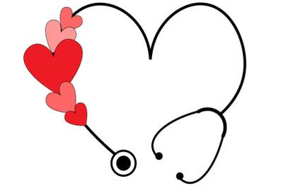 Valentine Stethoscope SVG, Valentine svg, Heart Stethoscope Svg, Nurse