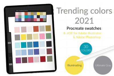 Trending colors of the year. 2021 color swatches for Procreate. Digita