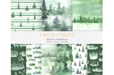 Watercolor Green Fores Digital Papers