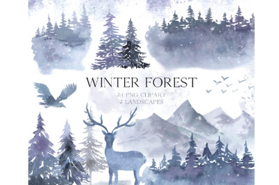 Watercolor Winter Forest Clipart Set
