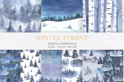 Watercolor Winter Forest Digital Papers