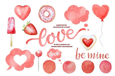 Valentines PNG. Valentine's Day Watercolor Clipart Set