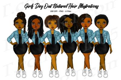 Black Women Clipart Urban Fashion Set PNG