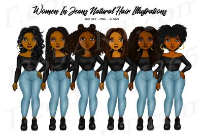 Black Woman Clipart Jeans Fashion PNG