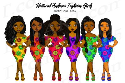 Natural Hair Ankara Girls Clipart Black Woman Clipart