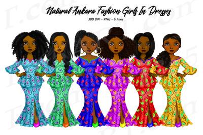 African Women Clipart Ankara Dress Black Girls PNG