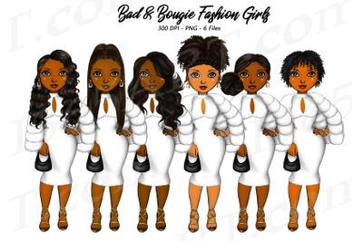 Natural Hair Bougie Girls Clipart Set Black Woman PNG