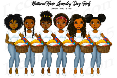 Natural Hair Laundry Day Girls Black Woman Clipart PNG