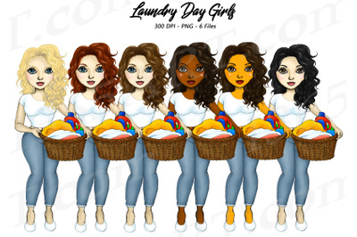 Laundry Day Girls Clipart Set Chore Women PNG