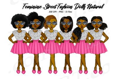 Natural Hair Feminine Fashion Girls Clipart PNG