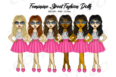 Feminine Fashion Girls Clipart Illustrations PNG