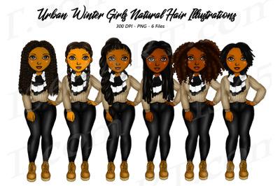 Black Woman Clipart Winter Urban City Fashion PNG