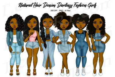 Natural Hair Denim Girls Clipart Black Woman Clipart PNG