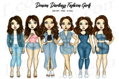 Brunette Denim Girls Clipart Fashion Girl Illustrations PNG