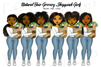 Black Woman Grocery Shopping Clipart PNG