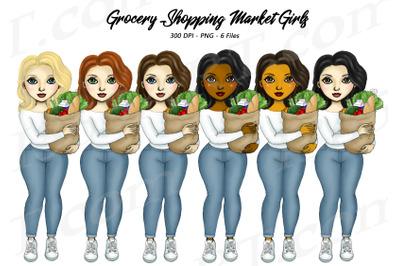 Women Grocery Shopping Fashion Girl Clipart PNG