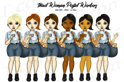 Mail Woman Clipart Postal Workers Set PNG