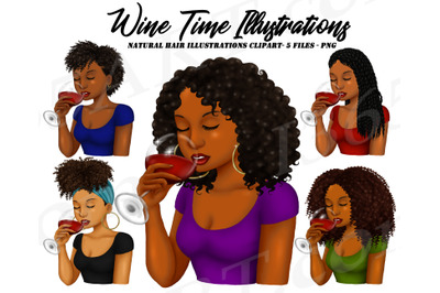 Black Women Drinking Wine Clipart Set African American PNG