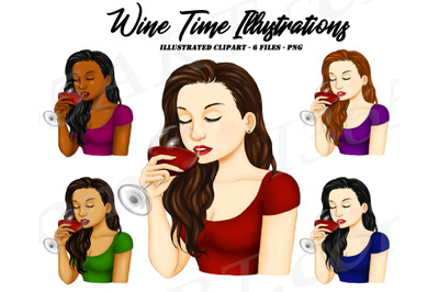 Beautiful Women Drinking Wine Clipart Illustrations PNG