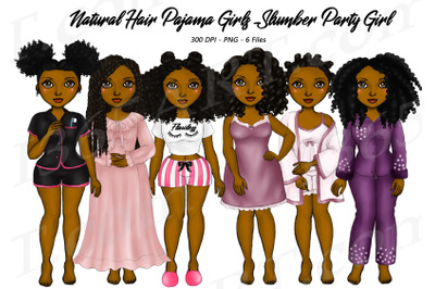 Black Woman Clipart Natural Hair Pajama Girls PNG