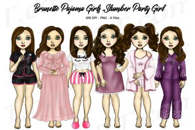 Brunette Women Wearing Pajamas Clipart Slumber Party PNG