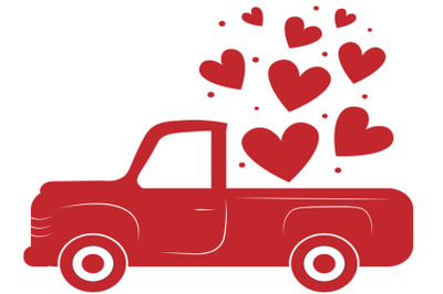 Valentine truck SVG, Valentine svg, Valentine red truck  Svg, red old