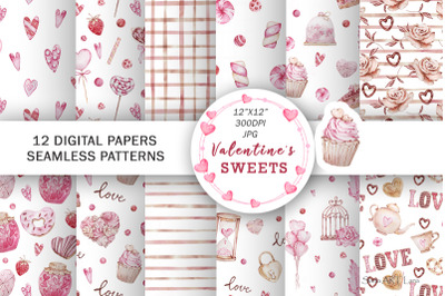 Watercolor Valentines Digital Papers, Seamless Pattern