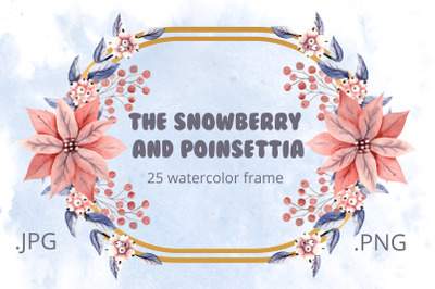 The snowberry and Poinsettia. Watercolor