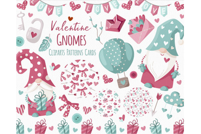 Valentine Gnomes - clipart and digital paper