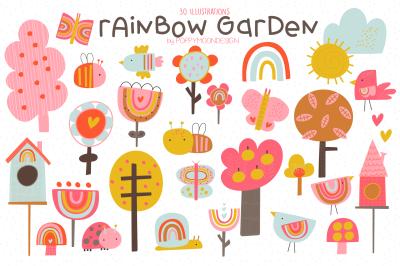 Rainbow Garden clipart set