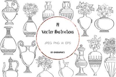 14 Hand drawn Vintage Vases and Flowers Vector Illustrations