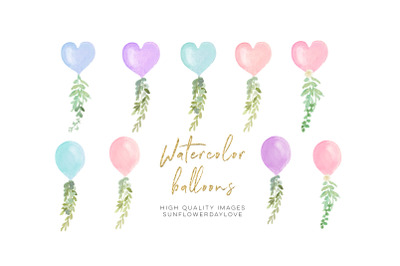Pink Valetine Balloon, Blue Heart Balloon Watercolor clipart, Balloon