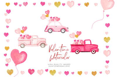 Pink and Gold Heart Balloon clipart, Valentine Clipart, Pink Valentine