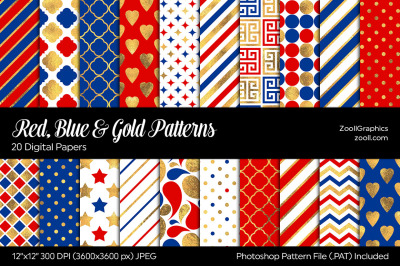 Red, Blue And Gold Digital Papers
