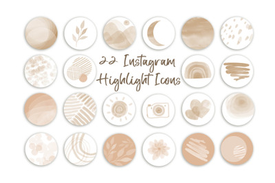 Neutral Abstract watercolor Highlight Icons Modern Instagram Covers